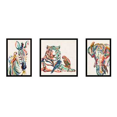 Multicolor Jungle Animals Framed Canvas Wall Art 3 Piece