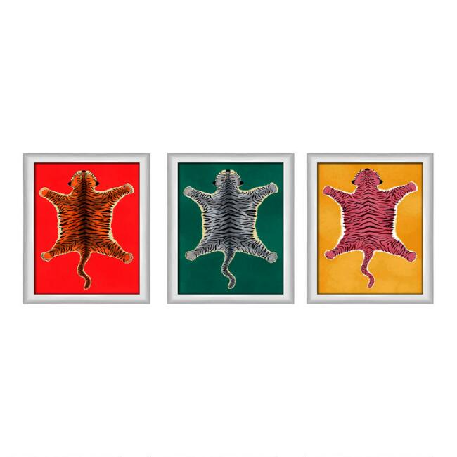 Red, Green And Yellow Tiger Pelts Framed Wall Art 3 Piece