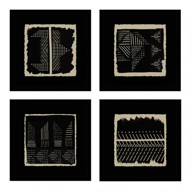 Black And Ivory Geo Patterns Framed Wall Art 4 Piece