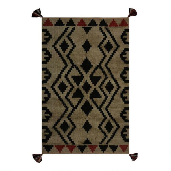 Beige and Black Southwestern Bohemian Wool Area Rug