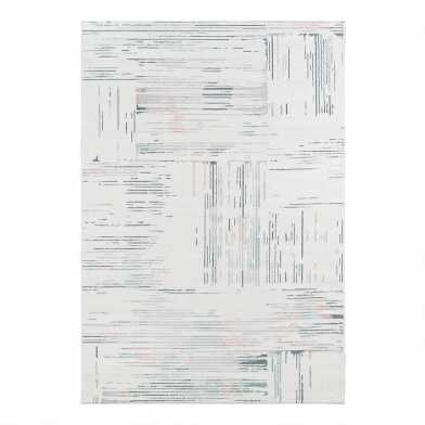 Ivory and Blue Abstract Haley Area Rug