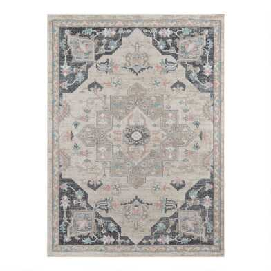 Gray and Ivory Multicolor Persian Style Medallion Area Rug