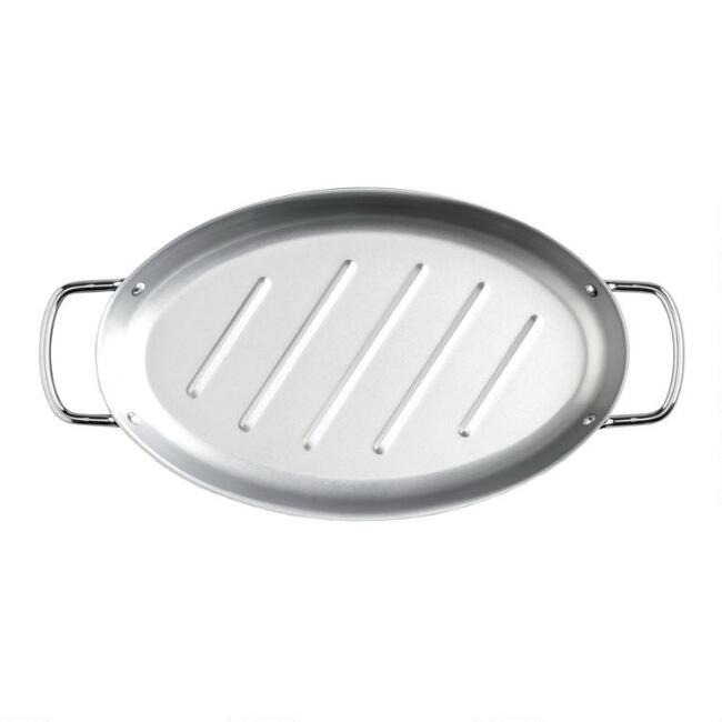 Oval Stainless Steel Grill Pan