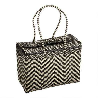 Black and Ivory Chevron Handwoven Picnic Tote Bag