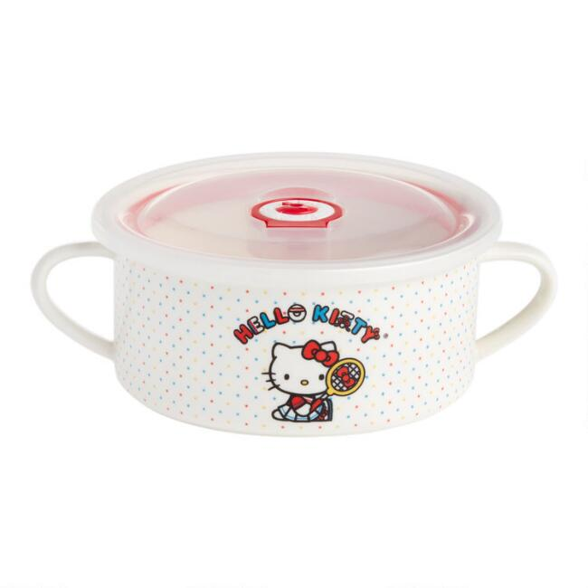Hello Kitty Sports Ceramic Noodle Bowl with Lid