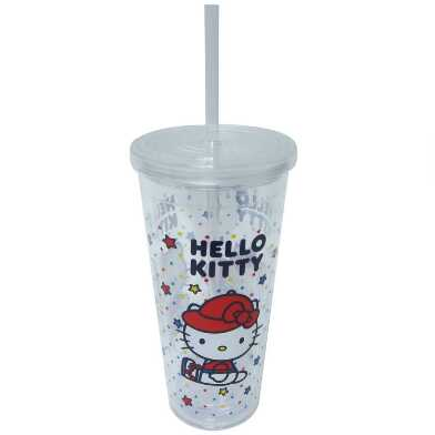 Clear Hello Kitty Sports Double Wall Cup with Straw