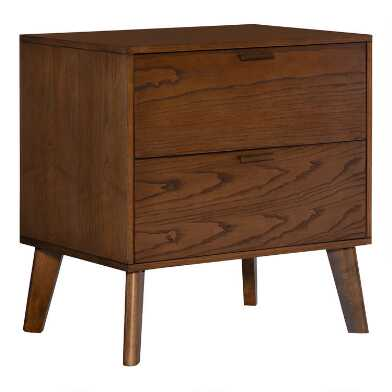 Walnut Mid Century Jackson Nightstand with 2 Drawers