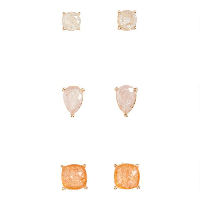 Ivory, Blush And Peach Crackle Glass Stud Earrings Set Of 3
