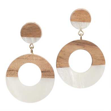 Ivory Acrylic and Wood Dangle Earrings