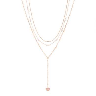 Gold and Rose Quartz Beaded Coin Necklaces Set Of 3