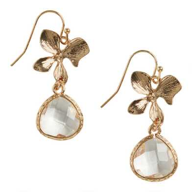 Gold Flower And Faceted Glass Drop Earrings