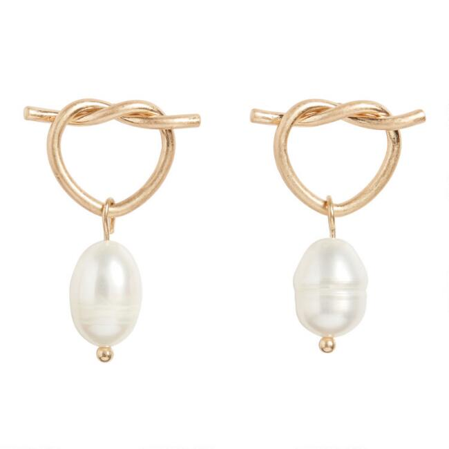 Gold Knot and Pearl Drop Earrings