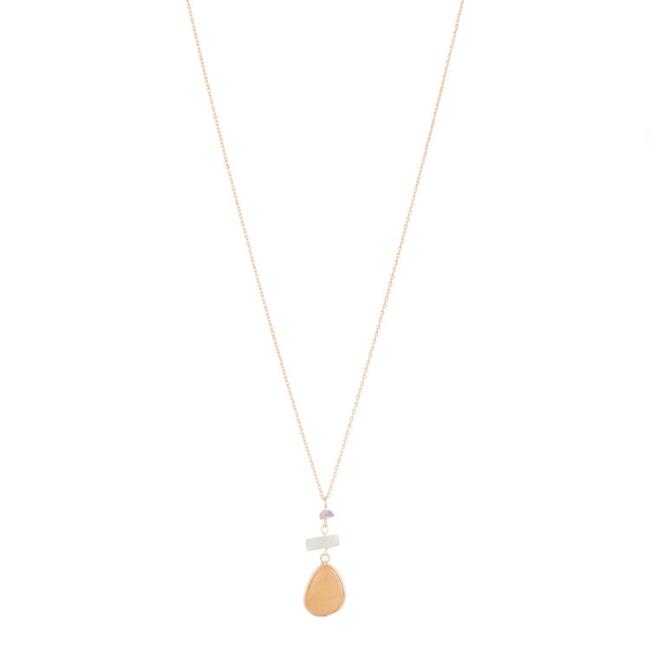Gold and Organic Mixed Stone Pendant Necklace