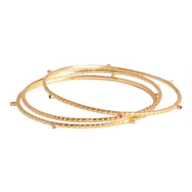 Gold Textured Bangle Bracelets Set Of 3