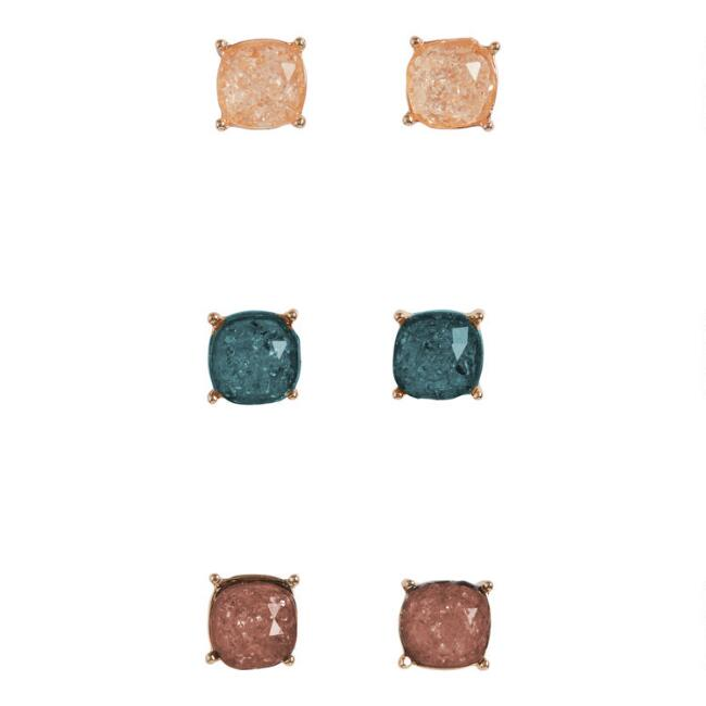 Teal, Gray And Peach Crackle Glass Stud Earrings Set Of 3