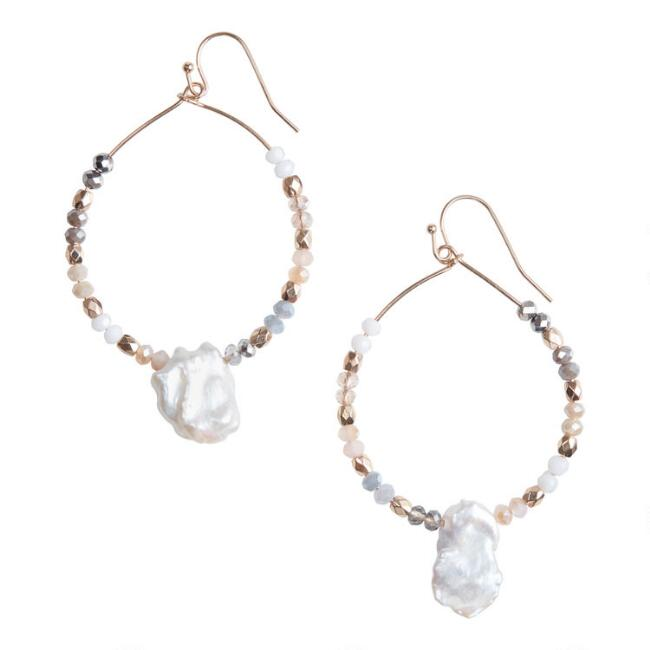 Gold Fresh Water Pearl Beaded Hoop Earrings