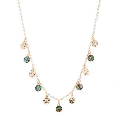 Gold Faux Abalone Coin Necklace