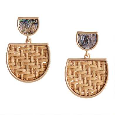 Gold Abalone and Woven Rattan Drop Earrings
