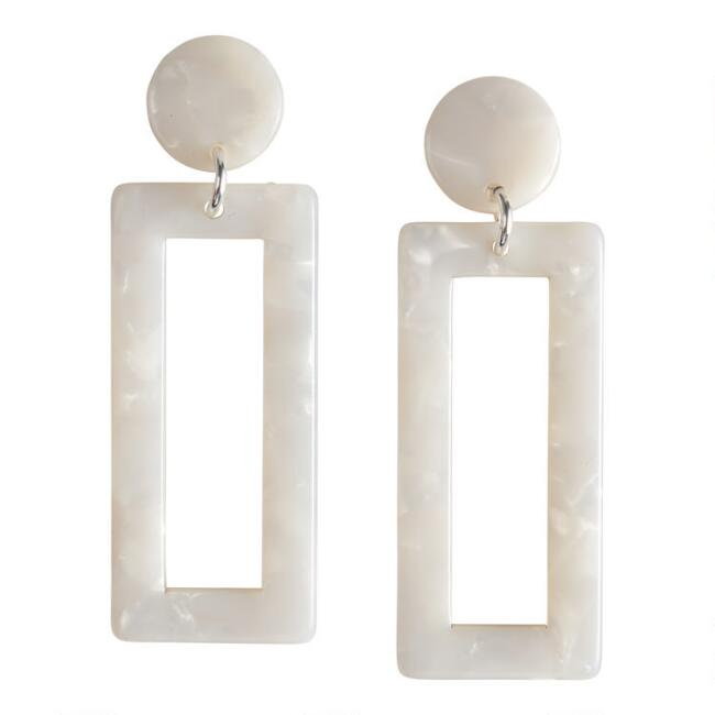 Rectangular White Acrylic Dangle Earrings