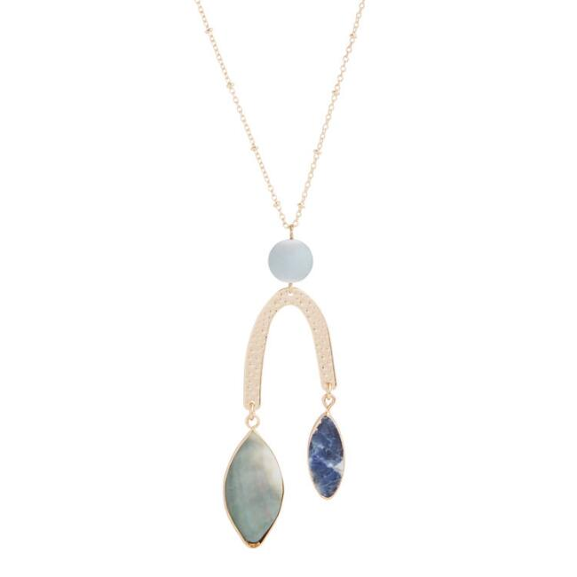 Gold Mother of Pearl Mobile Pendant Necklace