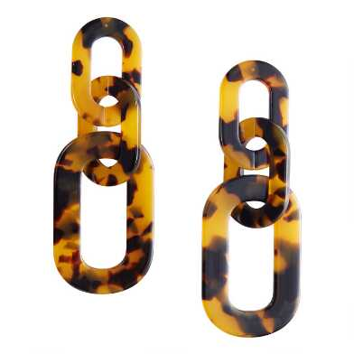 Tortoiseshell Acrylic Chain Earrings