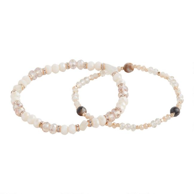 Ivory And Gold Beaded Stretch Bracelets Set Of 2