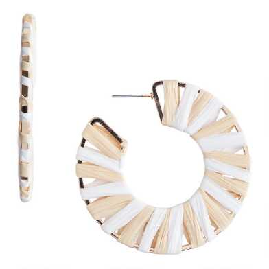 Gold Ivory And Natural Raffia Woven Hoop Earrings