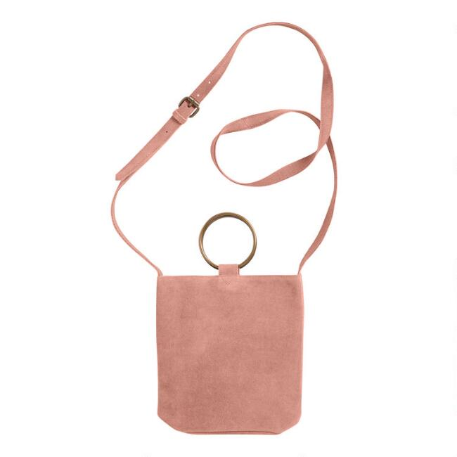 Dusty Pink Suede Crossbody Bucket Bag with Ring Handles
