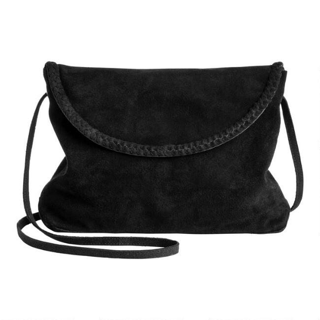 Black Suede Braided Crossbody Bag