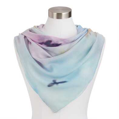 Multicolor Watercolor Bird Scarf