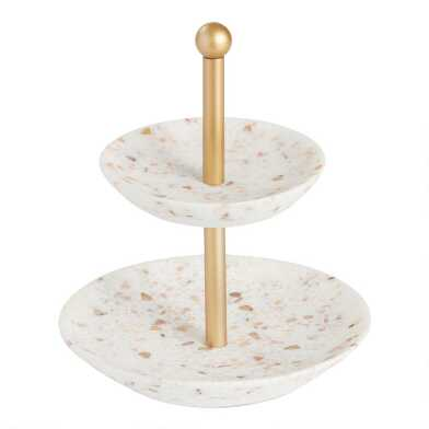 White Terrazzo and Gold 2 Tier Jewelry Stand
