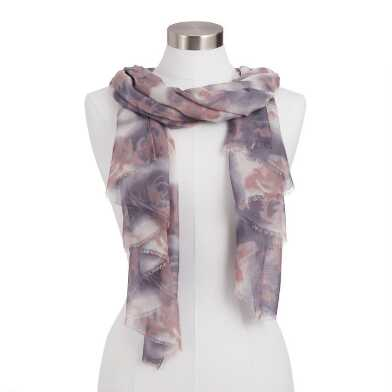 Purple And Ivory Abstract Mirage Scarf