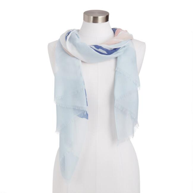 Blue And Pink Abstract Ombre Scarf