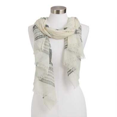 Blue And Ivory Boucle Geometric Scarf