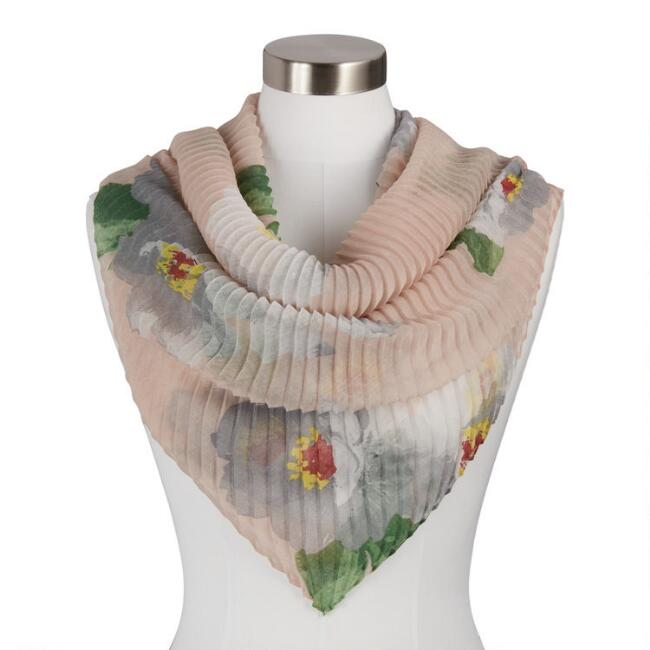 Peach And Gray Pleated Floral Scarf