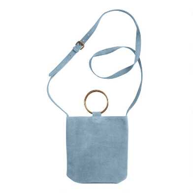 Powder Blue Suede Crossbody Bucket Bag