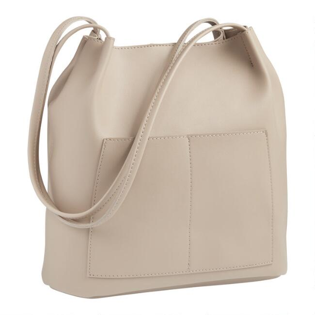Taupe Faux Leather Minimalist Tote Bag