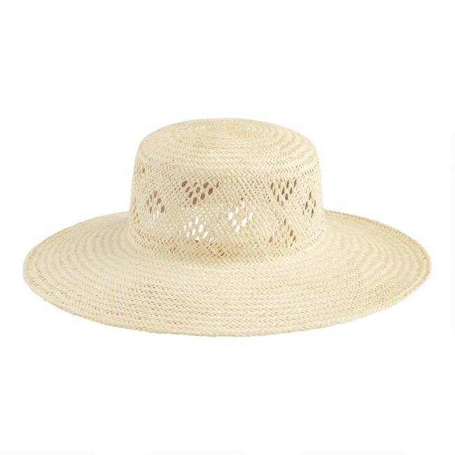 Natural Straw Cozumel Flat Top Hat