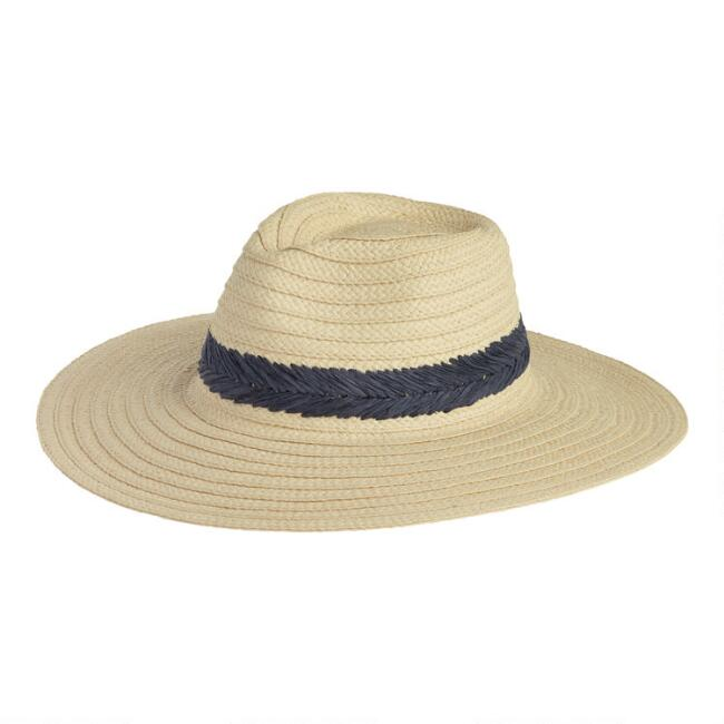 Natural And Navy Textured Stripe Straw Sunhat
