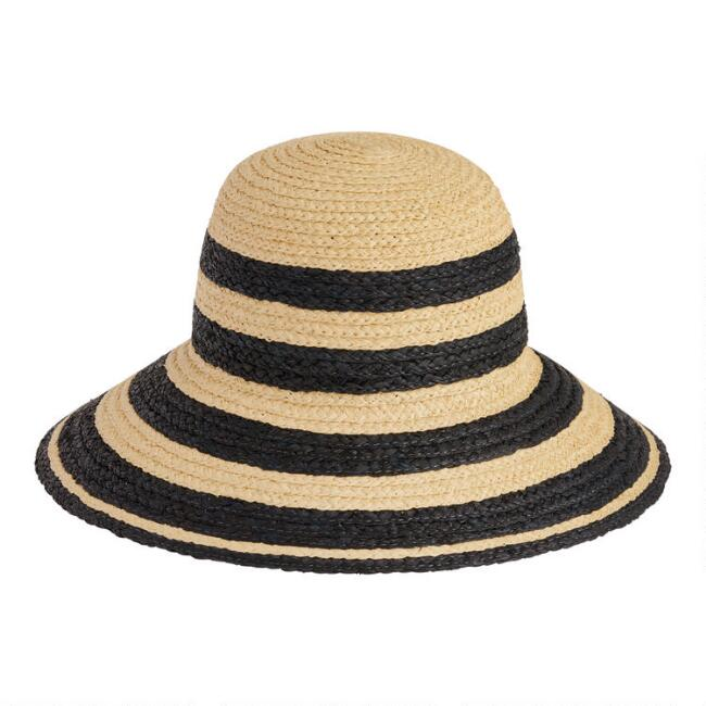 Natural And Black Stripe Straw Cloche Hat