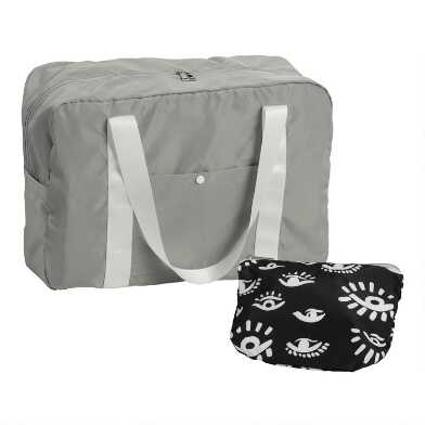 Gray And Black Evil Eye Foldable Duffel Bag with Pouch