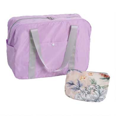 Lavender And Peach Floral Foldable Duffel Bag with Pouch