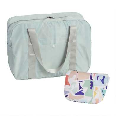 Multicolor Mosaic Foldable Duffel Bag with Pouch
