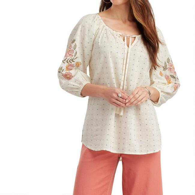 Cream And Blue Dobby Floral Embroidered Kayla Top