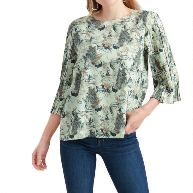 Peacock And Floral Print Flutter Top