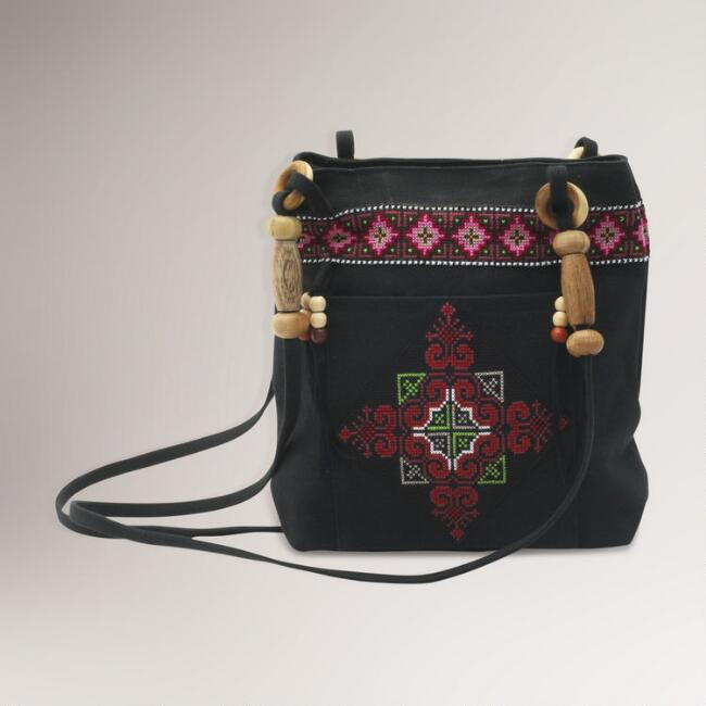 Novica Mountain Signals Cotton Shoulder Bag