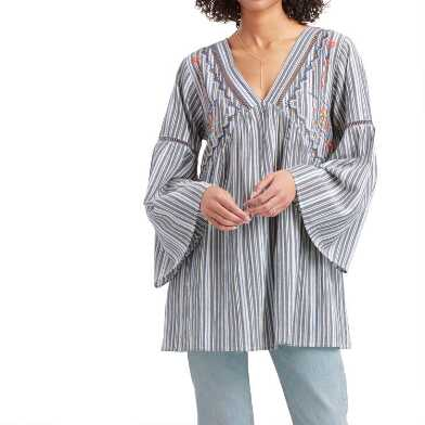 Blue and White Stripe Embroidered Alexandra Tunic Top