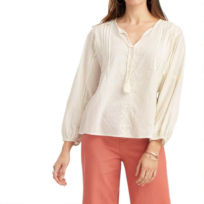 White Dobby Embroidered Julia Top
