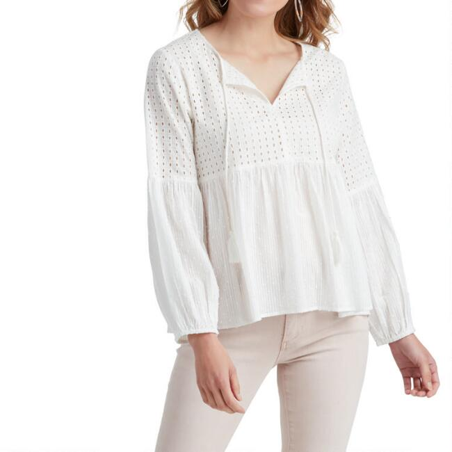 White Open Eyelet Peplum Lindsay Top