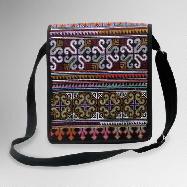 Novica Hmong Pride Cotton Shoulder Bag